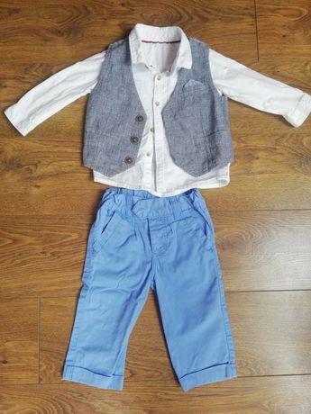 Zestaw Koszula spodnie kamizelka chłopięca rozmiar 74