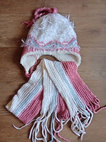 Комплект набор шапка шарф для девочки 5 6 7 8 лет л