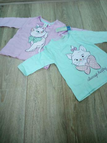 Dwie bluzki bluzeczki Disney długi rękaw r. 80, nowe z metką