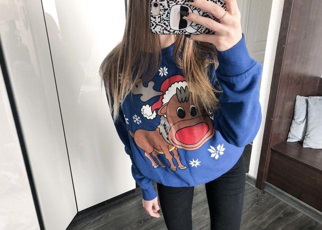 Sweterek sweter świąteczny niebieski Merry Xmas M