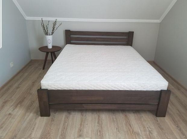 Буковая натуральна двуспальная кровать