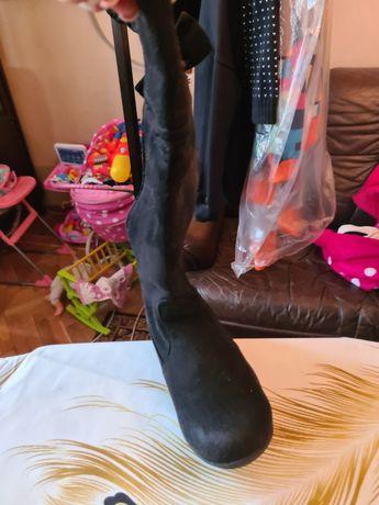 Детские ботфорт черного цвета замшевые 19 см по подушевое нормально вс