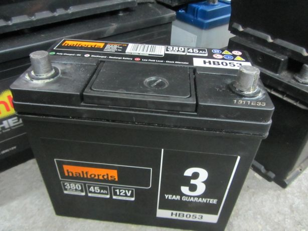 Halfords 45Ah 380A akumulator P+ 12V do japończyka