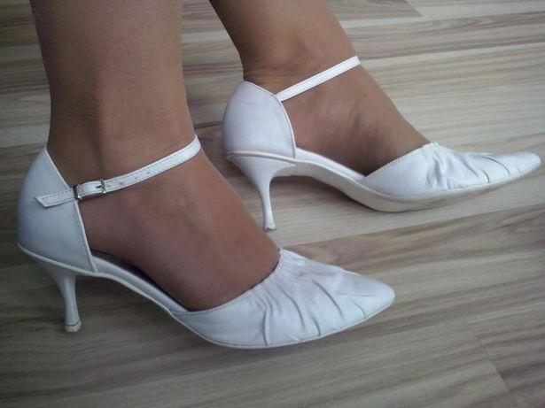 Buty ślubne, szpilki skórzane roz. 38