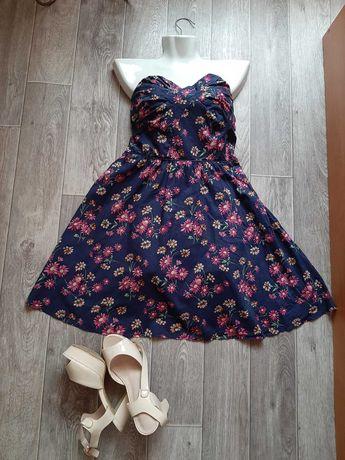 Синее платье в цветочек сарафан без бретелей бренда Oasis 46 размера