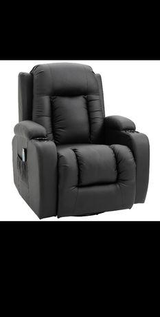 Fotel z masażem i ogrzewaniem, czarny, rozkładany