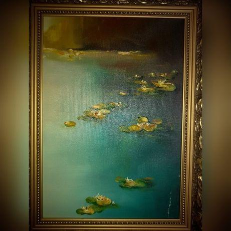 Nenufary, obraz olejny na płótnie