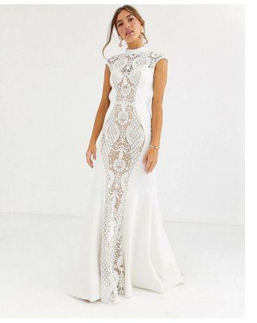 Suknia koronkowa z trenem ślubna wieczorowa jovani