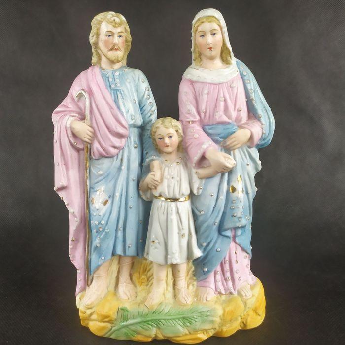 Piekna stara biskwitowa figurka swieta rodzina maryja jozef jezus Osiek - image 1