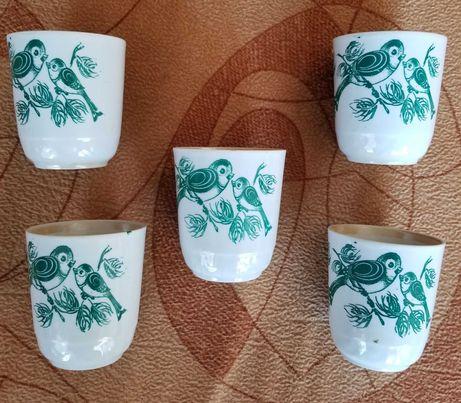 Новые ЧАШКИ керамика лот из 5 штук 200 мл рисунок - птички новое