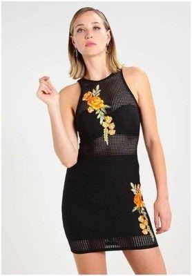 Missguides czarna sukienka z siateczki kwiaty rozmiar 40 NOWA