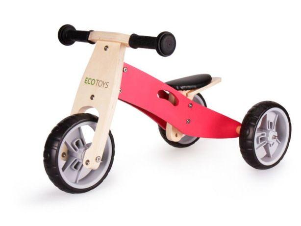 Rowerek biegowy trójkołowy drewniany 2w1 Pink
