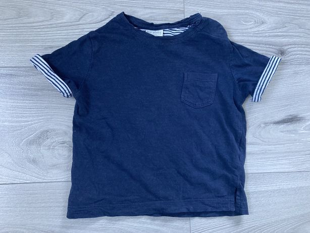 Koszulka z krótkim rękawem t-shirt Zara granatowy 80/86