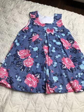 Sukienka rozm. 74, kwiaty,niebieska, nowa bez metki