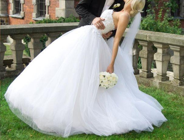 Suknia ślubna princesska zdobiona kryształkami