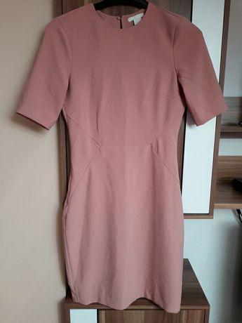 H&M 36 pudrowy róż odkryte plecy sukienka elegancka