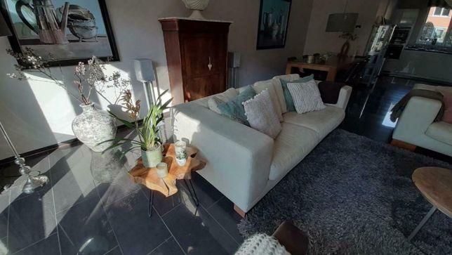 kremowa beżowa sofa i fotel - SKÓRA naturalna