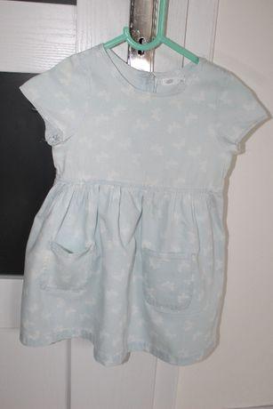 r. 92 Lekka błękitna sukienka, motylki, stan bdb