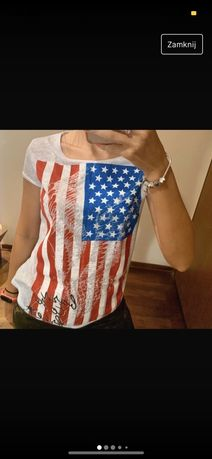 qed london tshirt bluzka amerykanska flaga usa M/L