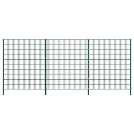 vidaXL Painel de vedação com postes ferro 5,1x2 m verde 278681