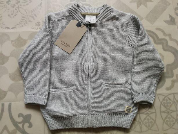 Sweter sweterek rozsuwany Zara szary rozmiar 80 NOWY Z METKAMI