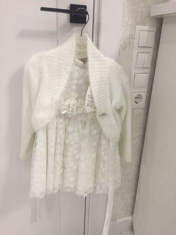 Праздничное новогоднее белое платье балеро