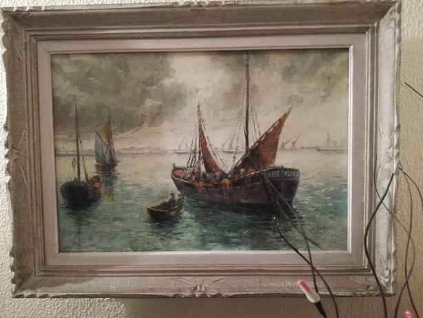 Quadro de barcos pintado a óleo