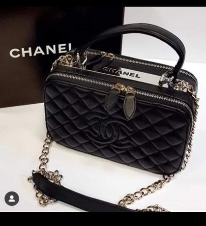 Torebka listonoszka Chanel Torba Czarna skórzana kuferek Premium