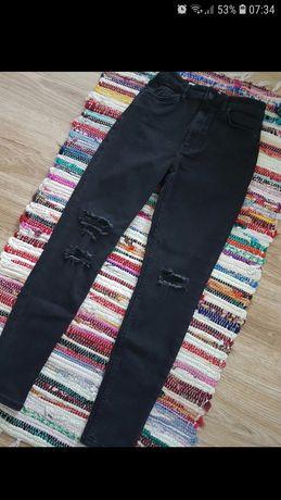 Spodnie jeansowe Bershka czarne rurki dziury podarte wysoki stan super