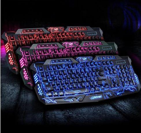 Игровая клавиатура V-100 с подсветкой трьох цветная с мышкою проводная