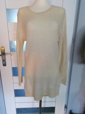 Ażurowy sweterek ecru 42 oversize