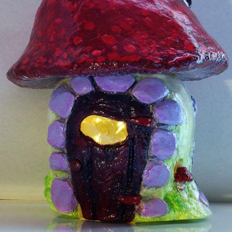 Новогодний подарок ночник домик гриб , шкатулка светильник handmade