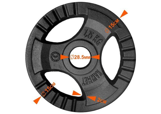 Блін (диск) 1,25 кг для гантелі (штанги) з потрійним хватом KAWMET