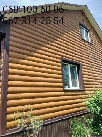 Металевий блок-хаус 0.40-0.45 мм, фальш-брус, імітація дерева