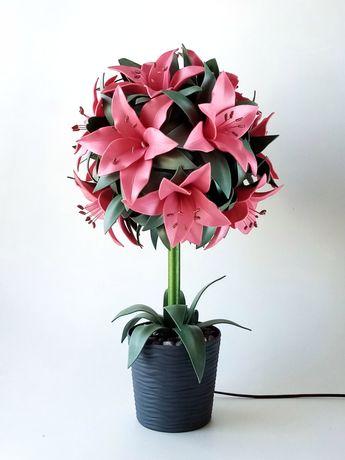 Светильник ручной работы, светильник-цветок, лилии, подарок