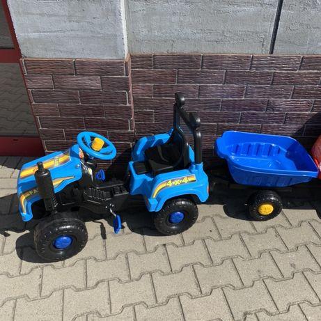 Traktor na pedały z przyczepą, różne kolory zielony czerwony niebieski