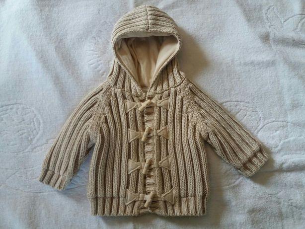 Детская одежда.Кофта вязаная с подкладкой 0-6мес.