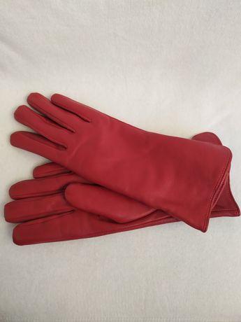 Перчатки кожаные красные бордовые 7 размер Edmins