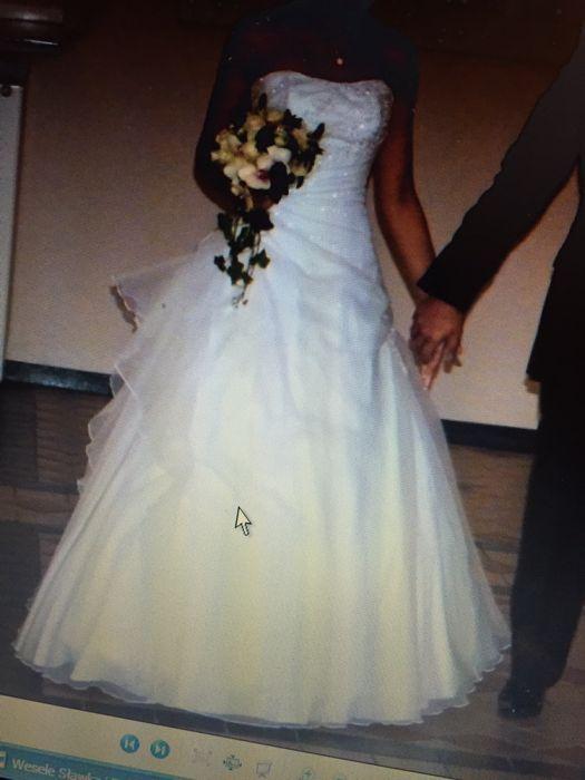 Piękna sukienka slubna*sprowadzona z Anglii*złamana biel*rozm36/38