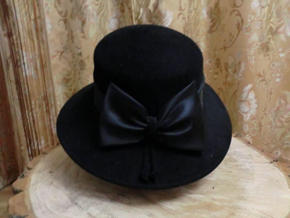 Шляпа женская фетровая черная размер 58/59 Днепр - изображение 1