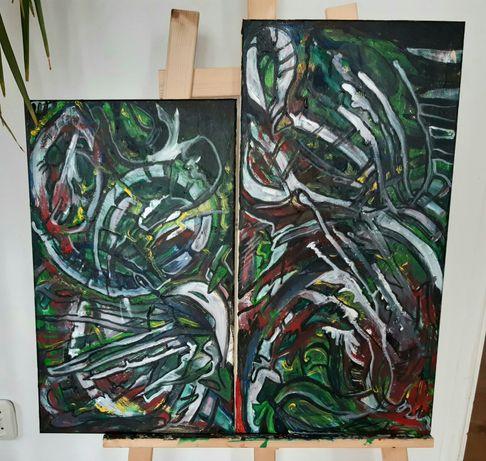 Dwuczęściowy obraz , akryl na płótnie