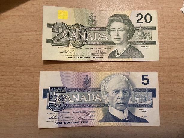 Duas notas dolares canadianos