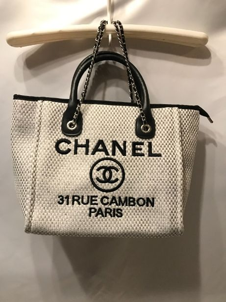 Chanel torba torebka usztywniana A4 biała