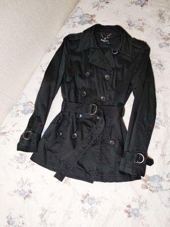 Куртка демисезонная черная. Тренч плащ короткий черный, 42, 44 s