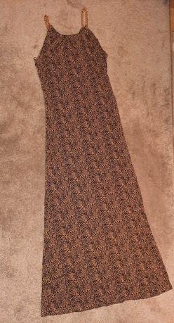 Sukienka dluga lancuch na ramiaczkach