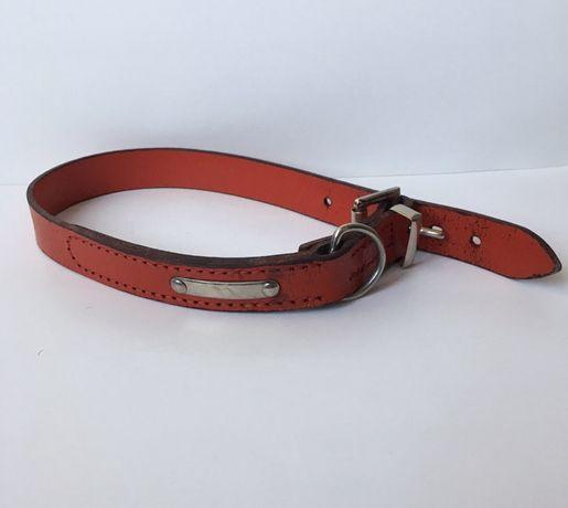 Кожаный ошейник для кошки или собаки. Цвет красный.