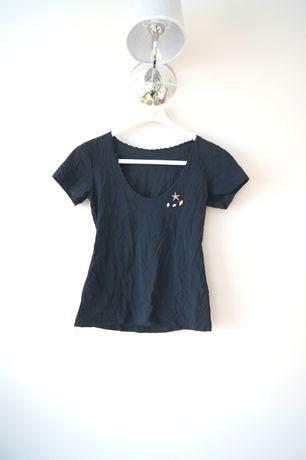 czarny t-shirt czarna bluzka koszulka z krotkim rekawem 38 M 40 L top