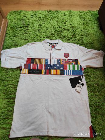 Sixty nine NYC 69 L limitowana koszulka polo skate męska biała flagi