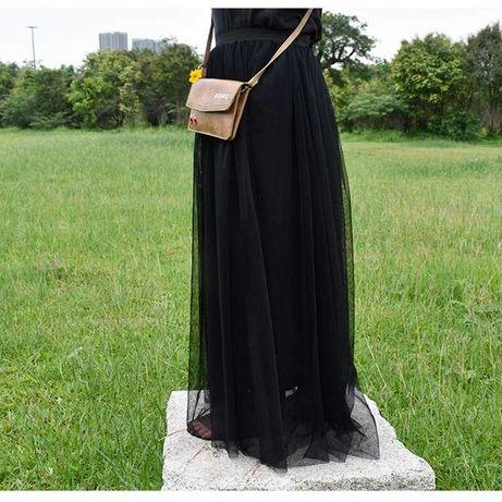 Фатиновая юбка черная длинная