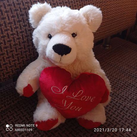 М'який білий ведмедик, висота 40 см